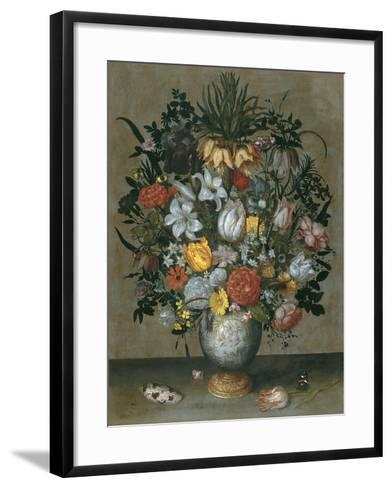 Chinese Vase with Flowers, Shells and Insects-Ambrosius Bosschaert the Elder-Framed Art Print