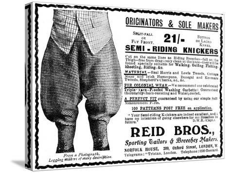 Advert for Reid Bros, Sporting Tailors and Breeches Makers--Stretched Canvas Print