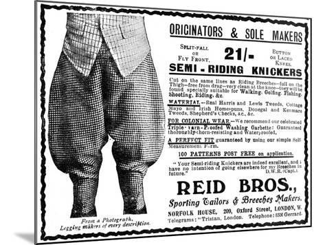 Advert for Reid Bros, Sporting Tailors and Breeches Makers--Mounted Giclee Print