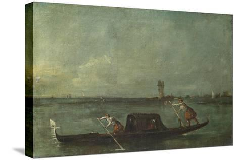 A Gondola on the Lagoon Near Mestre, after 1780-Francesco Guardi-Stretched Canvas Print