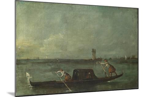 A Gondola on the Lagoon Near Mestre, after 1780-Francesco Guardi-Mounted Giclee Print