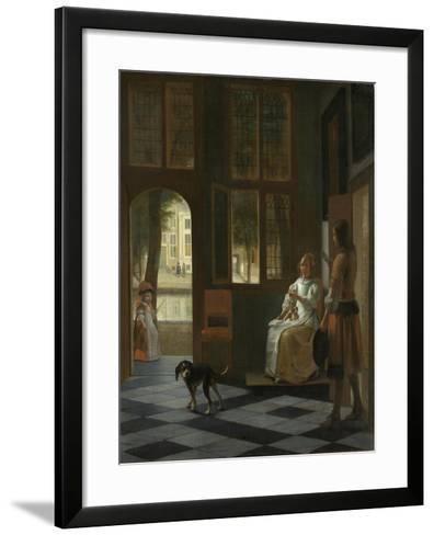 A Woman Directing a Young Man with a Letter, 1670-Pieter de Hooch-Framed Art Print