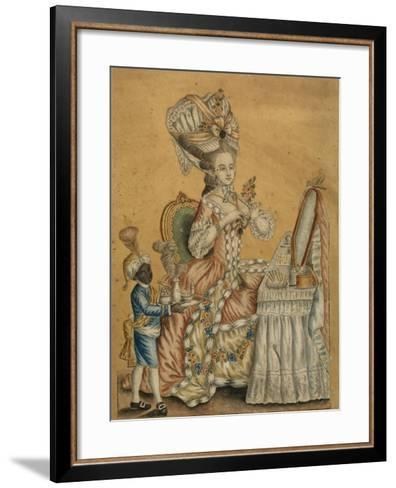 Lady at a Toilette with a Black Boy, 1770S--Framed Art Print