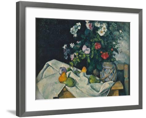 Still Life with Flowers and Fruit, 1889-1890-Paul C?zanne-Framed Art Print