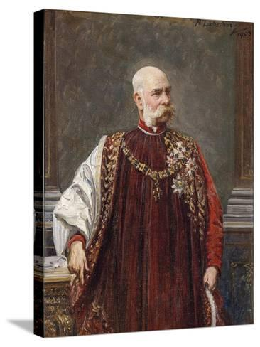Portrait of Franz Joseph I of Austria as Grand Master of the Golden Fleece, 1903-Adolf Liebscher-Stretched Canvas Print
