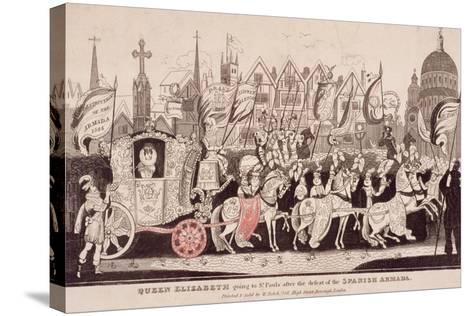 Queen Elizabeth I Travelling by Coach to St Paul's after the Defeat of the Spanish Armada, C1840--Stretched Canvas Print