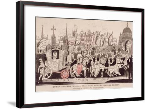 Queen Elizabeth I Travelling by Coach to St Paul's after the Defeat of the Spanish Armada, C1840--Framed Art Print