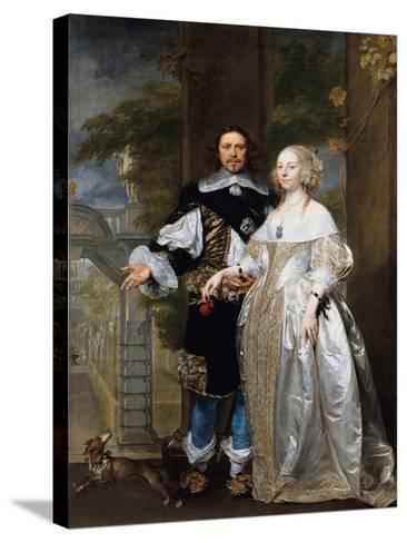 Portrait of a Married Couple in the Park, 1662-Gonzales Coques-Stretched Canvas Print