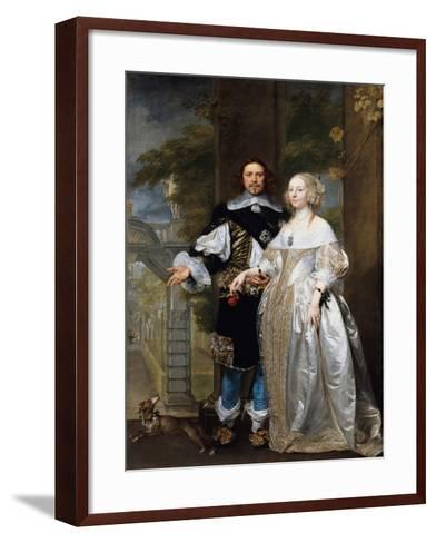 Portrait of a Married Couple in the Park, 1662-Gonzales Coques-Framed Art Print
