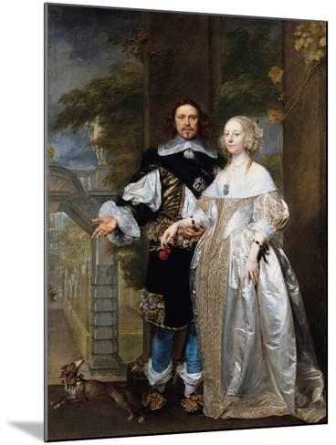 Portrait of a Married Couple in the Park, 1662-Gonzales Coques-Mounted Giclee Print
