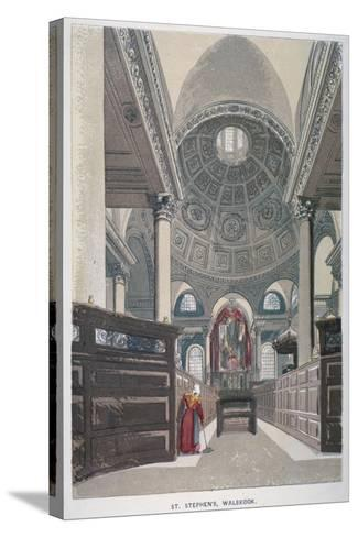 Interior Looking East, Church of St Stephen Walbrook, City of London, 1845--Stretched Canvas Print