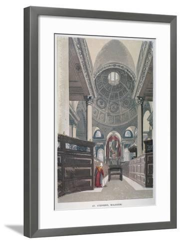 Interior Looking East, Church of St Stephen Walbrook, City of London, 1845--Framed Art Print