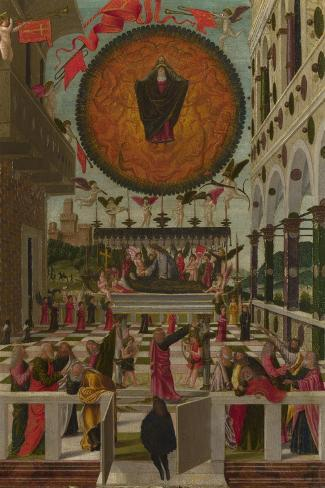 The Dormition and Assumption of the Virgin, 1488-Gerolamo  da Vicenza-Stretched Canvas Print