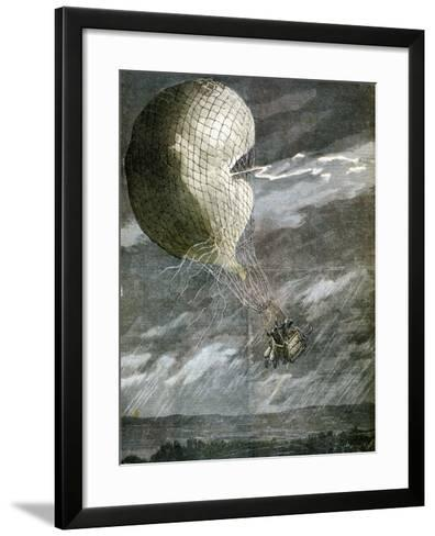 A Balloon Struck by Lightning Near Chicago, Illinois, USA, 1891--Framed Art Print