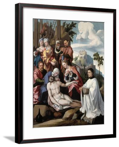 The Lamentation over Christ with a Donor, C.1535-Jan van Scorel-Framed Art Print