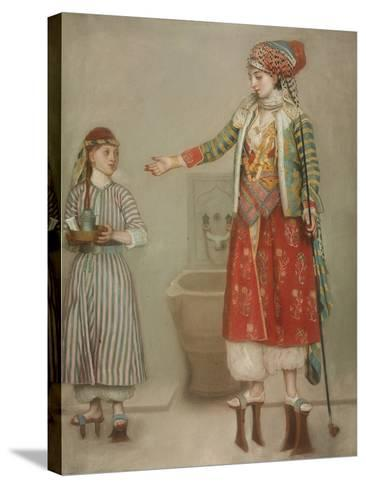 A Lady in Turkish Costume with Her Servant at the Hammam, Mid of the 18th C-Jean-?tienne Liotard-Stretched Canvas Print
