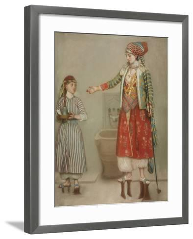 A Lady in Turkish Costume with Her Servant at the Hammam, Mid of the 18th C-Jean-?tienne Liotard-Framed Art Print