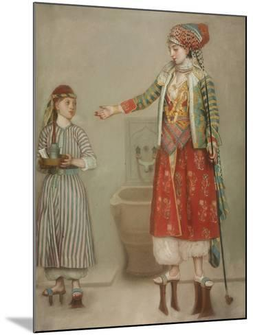 A Lady in Turkish Costume with Her Servant at the Hammam, Mid of the 18th C-Jean-?tienne Liotard-Mounted Giclee Print