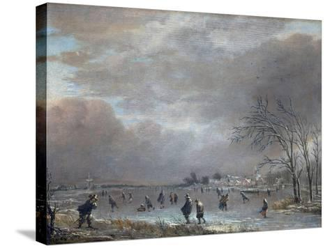 Winter Landscape with Skaters on a Frozen River-Aert van der Neer-Stretched Canvas Print