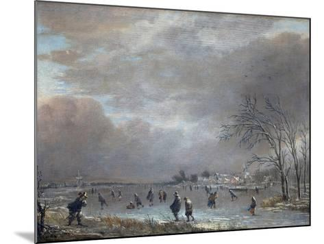 Winter Landscape with Skaters on a Frozen River-Aert van der Neer-Mounted Giclee Print