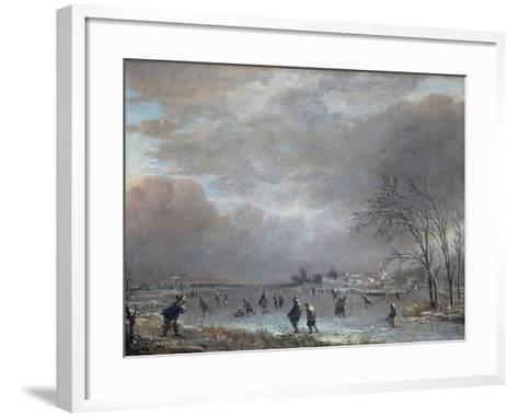 Winter Landscape with Skaters on a Frozen River-Aert van der Neer-Framed Art Print