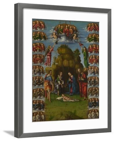 The Adoration of the Shepherds with Angels, 1499-Lorenzo Costa-Framed Art Print