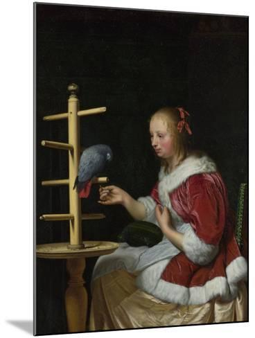 A Woman in a Red Jacket Feeding a Parrot, Ca 1663-Frans van Mieris the Elder-Mounted Giclee Print