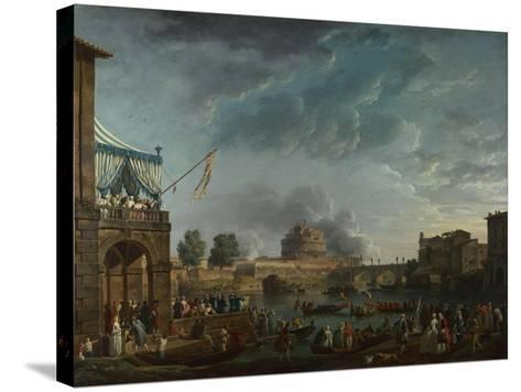 A Sporting Contest on the Tiber at Rome, 1750-Claude Joseph Vernet-Stretched Canvas Print
