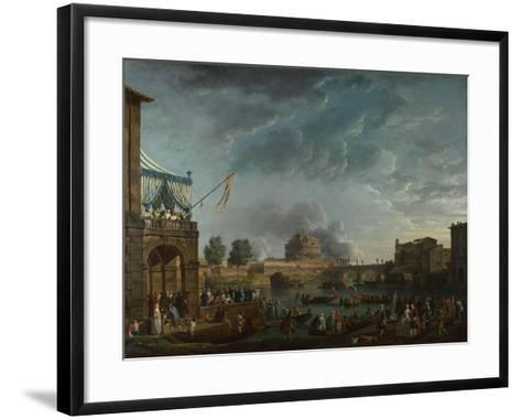 A Sporting Contest on the Tiber at Rome, 1750-Claude Joseph Vernet-Framed Art Print
