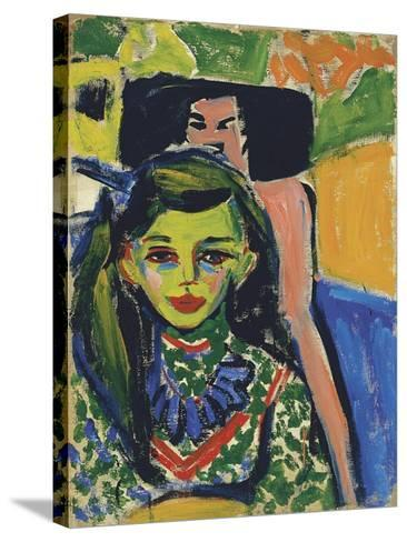 Fränzi in Front of Carved Chair, 1910-Ernst Ludwig Kirchner-Stretched Canvas Print