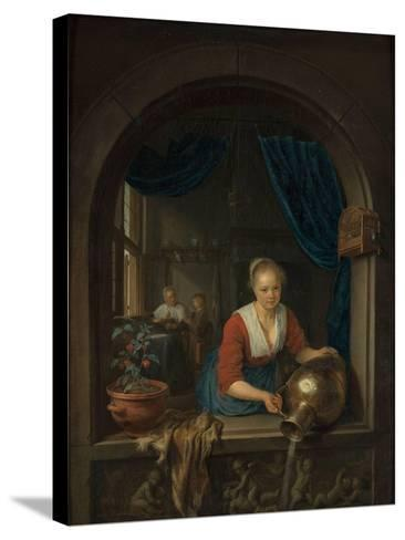 Maid at the Window, C. 1660-Gerard Dou-Stretched Canvas Print