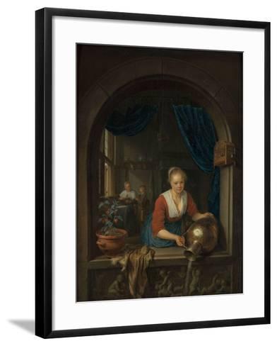 Maid at the Window, C. 1660-Gerard Dou-Framed Art Print