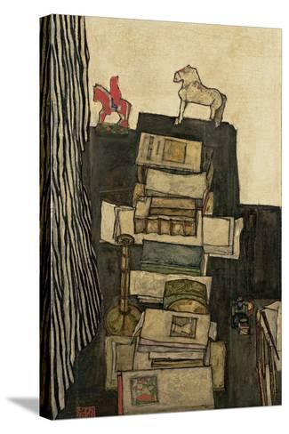 Still Life with Books, 1914-Egon Schiele-Stretched Canvas Print