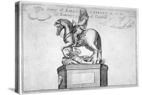 Statue of Charles II at the Entrance of Cornhill in the Stocks Market, Poultry, London, 1740--Stretched Canvas Print