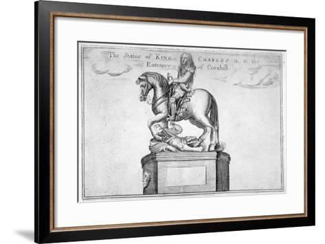 Statue of Charles II at the Entrance of Cornhill in the Stocks Market, Poultry, London, 1740--Framed Art Print