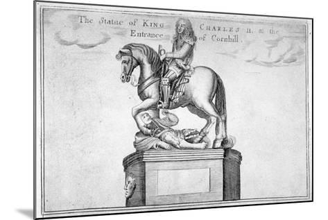 Statue of Charles II at the Entrance of Cornhill in the Stocks Market, Poultry, London, 1740--Mounted Giclee Print