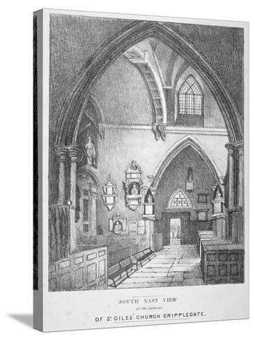 South-East View of the Interior of the Church of St Giles Without Cripplegate, City of London, 1825--Stretched Canvas Print