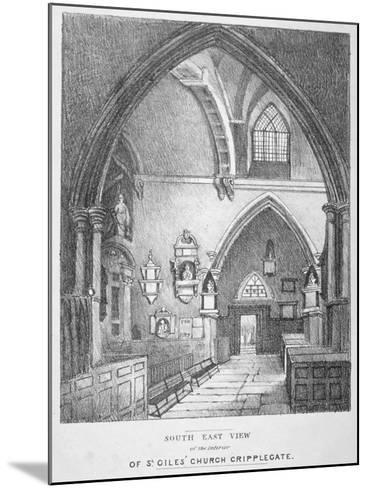 South-East View of the Interior of the Church of St Giles Without Cripplegate, City of London, 1825--Mounted Giclee Print