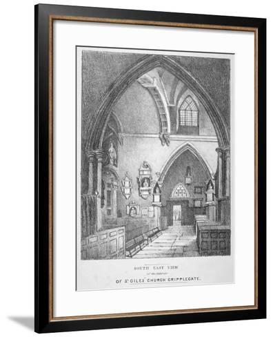 South-East View of the Interior of the Church of St Giles Without Cripplegate, City of London, 1825--Framed Art Print