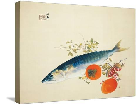 Autumn Fattens Fish and Ripens Wild Fruits, 1925-Takeuchi Seiho-Stretched Canvas Print