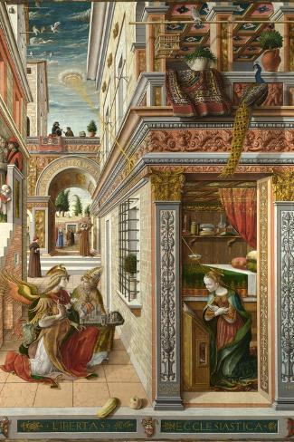 The Annunciation, with Saint Emidius, 1486-Carlo Crivelli-Stretched Canvas Print