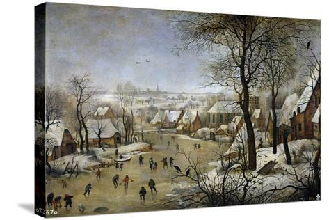 Winter Landscape with a Bird Trap, Ca 1601-Pieter Brueghel the Younger-Stretched Canvas Print