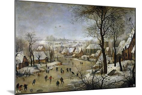 Winter Landscape with a Bird Trap, Ca 1601-Pieter Brueghel the Younger-Mounted Giclee Print