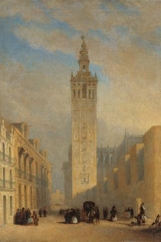 The Giralda Seen from Calle Placentines-Jos? Dom?nguez B?cquer-Stretched Canvas Print