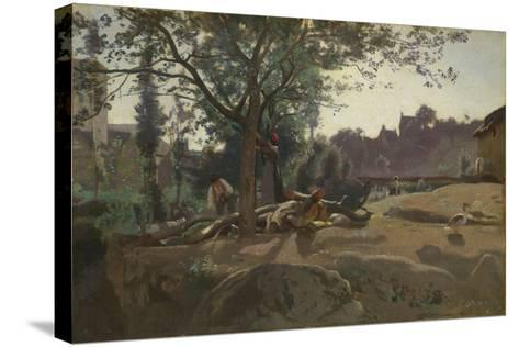 Peasants under the Trees at Dawn, C. 1843-Jean-Baptiste-Camille Corot-Stretched Canvas Print