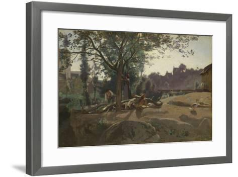 Peasants under the Trees at Dawn, C. 1843-Jean-Baptiste-Camille Corot-Framed Art Print