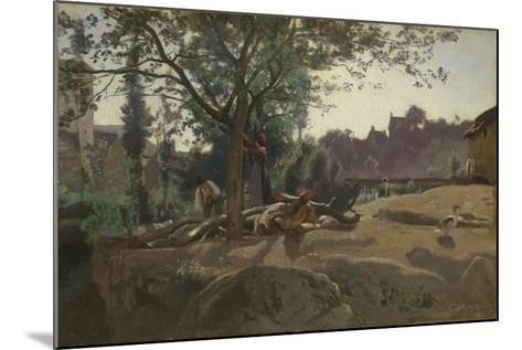 Peasants under the Trees at Dawn, C. 1843-Jean-Baptiste-Camille Corot-Mounted Giclee Print