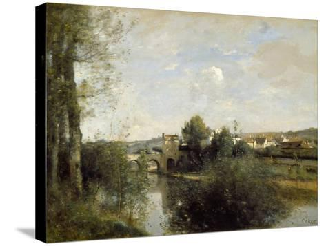 Seine and Old Bridge at Limay, 1872-Jean-Baptiste-Camille Corot-Stretched Canvas Print