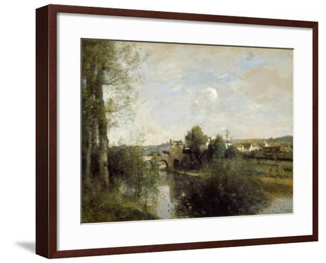 Seine and Old Bridge at Limay, 1872-Jean-Baptiste-Camille Corot-Framed Art Print