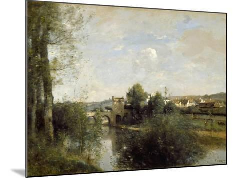 Seine and Old Bridge at Limay, 1872-Jean-Baptiste-Camille Corot-Mounted Giclee Print